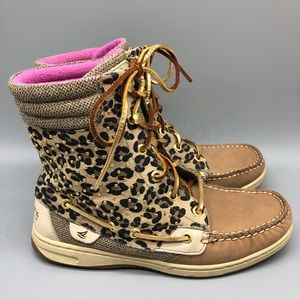 Sperry leopard cheetah lace up high top boat shoes